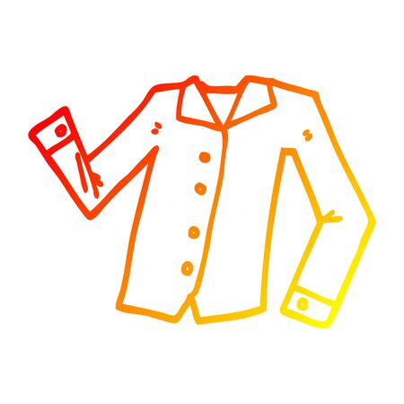 warm gradient line drawing of a cartoon work shirt Banque d'images - 130349554