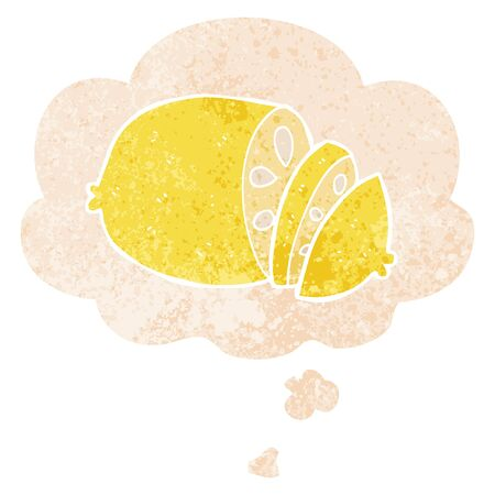 cartoon sliced lemon with thought bubble in grunge distressed retro textured style