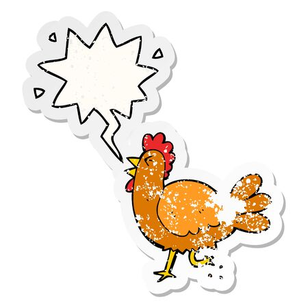 cartoon rooster with speech bubble distressed distressed old sticker