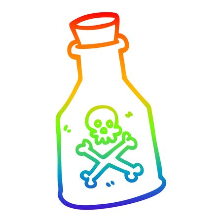 rainbow gradient line drawing of a cartoon poison
