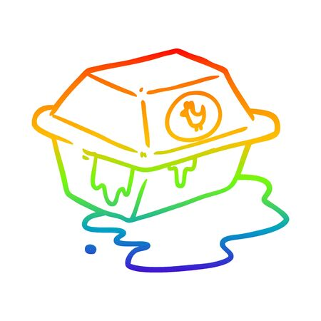 rainbow gradient line drawing of a take out fried chicken Banco de Imagens - 130349802