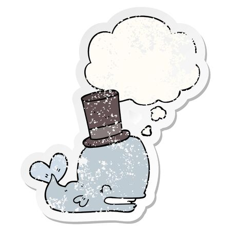 cartoon whale wearing top hat with thought bubble as a distressed worn sticker