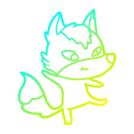 cold gradient line drawing of a friendly cartoon wolf dancing