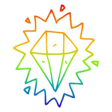 rainbow gradient line drawing of a cartoon diamond
