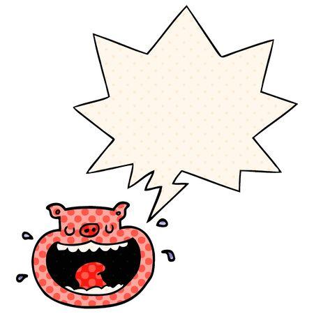 dessin animé cochon odieux avec bulle de dialogue dans le style bande dessinée