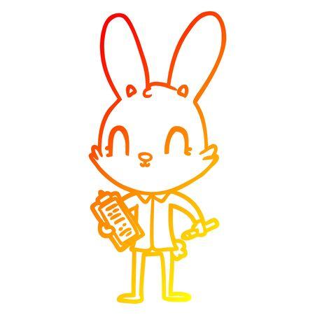 warm gradient line drawing of a cute cartoon rabbit with clipboard Çizim