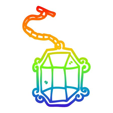 rainbow gradient line drawing of a cartoon ruby pendant