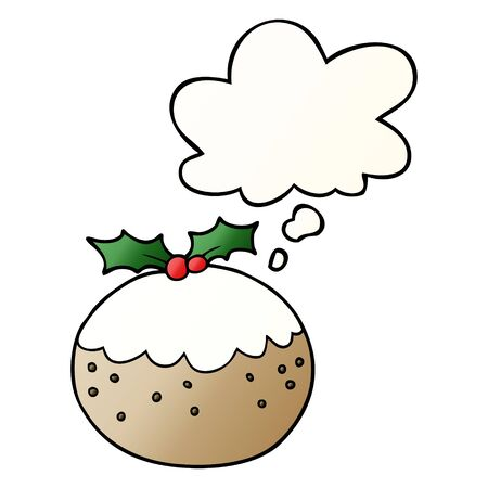 cartoon christmas pudding with thought bubble in smooth gradient style