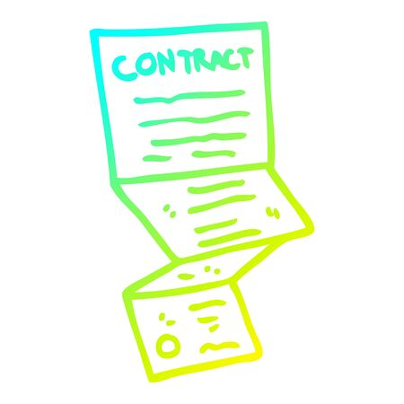 cold gradient line drawing of a cartoon long contract Stock Illustratie