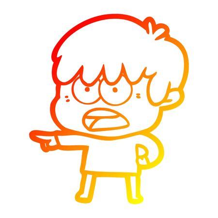 warm gradient line drawing of a worried cartoon boy