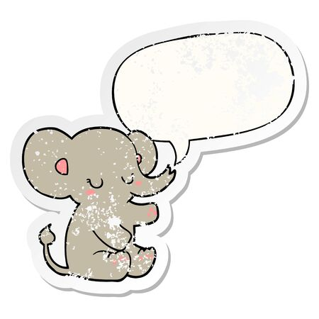 cartoon elephant with speech bubble distressed distressed old sticker Vector Illustration