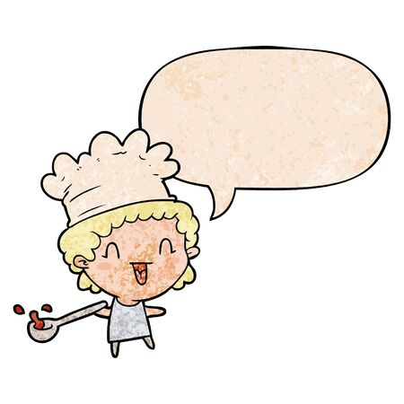 cute cartoon happy chef with speech bubble in retro texture style