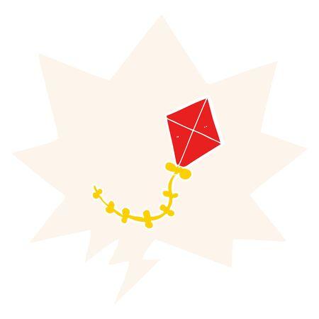 cartoon kite with speech bubble in retro style Ilustração