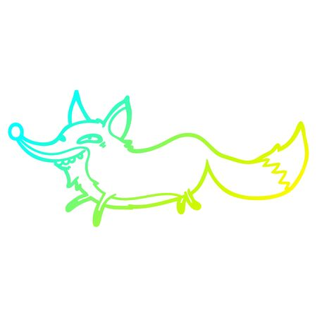 cold gradient line drawing of a cute cartoon sly fox