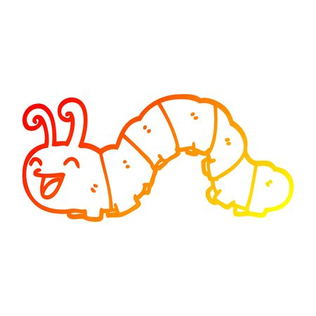 warm gradient line drawing of a cartoon laughing caterpillar