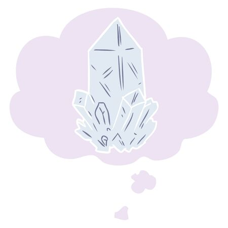 cartoon quartz crystal with thought bubble in retro style