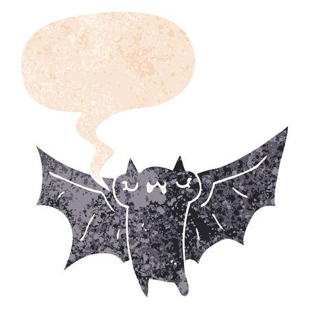 cute cartoon halloween bat with speech bubble in grunge distressed retro textured style