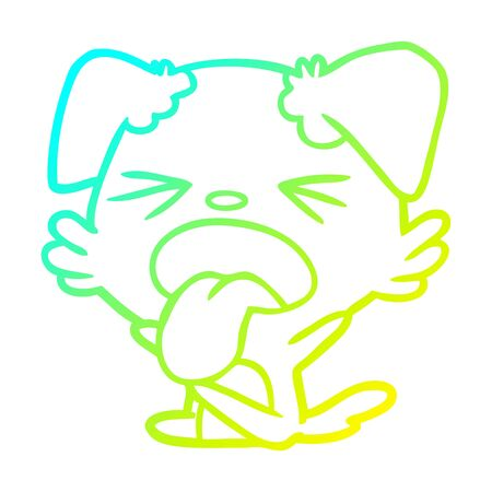 cold gradient line drawing of a cartoon dog throwing tantrum