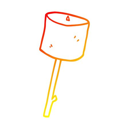 warm gradient line drawing of a cartoon toasted marshmallow Zdjęcie Seryjne - 130329785