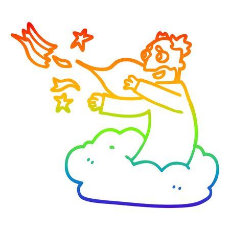 rainbow gradient line drawing of a cartoon god on cloud