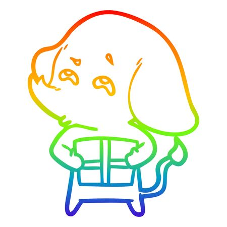 rainbow gradient line drawing of a cartoon elephant with gift remembering Çizim