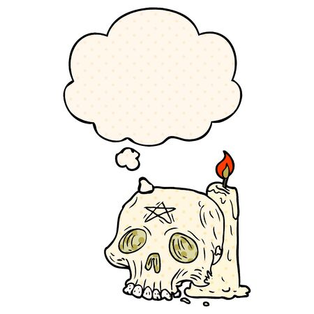 cartoon spooky skull and candle with thought bubble in comic book style