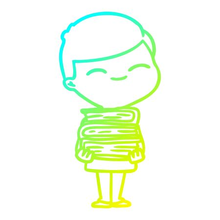 cold gradient line drawing of a cartoon smiling boy with stack of books