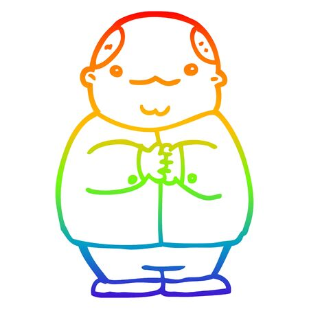 rainbow gradient line drawing of a cartoon balding man Stockfoto - 130355157