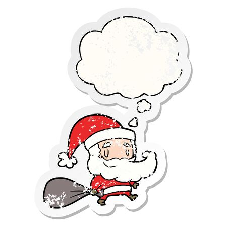 cartoon santa claus with sack with thought bubble as a distressed worn sticker