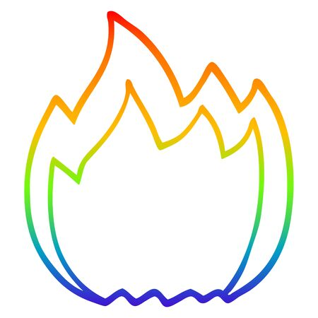 rainbow gradient line drawing of a cartoon open flame