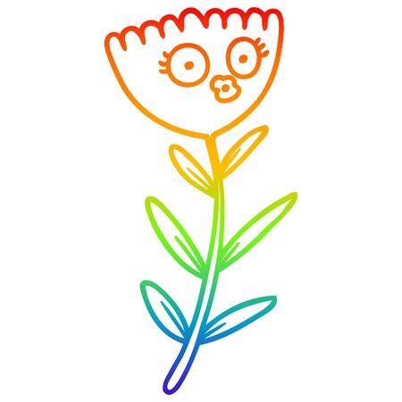 rainbow gradient line drawing of a cartoon flower dancing