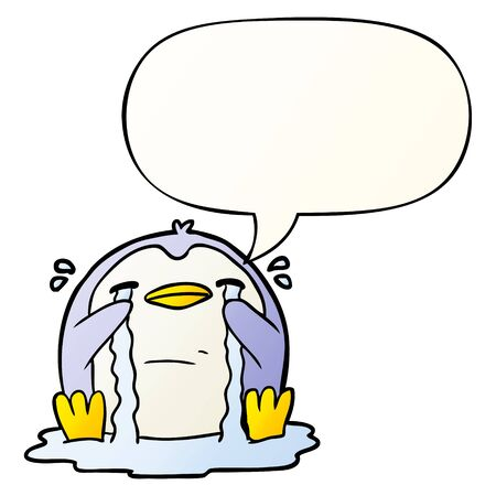 cartoon crying penguin with speech bubble in smooth gradient style Ilustração
