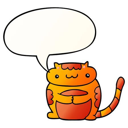 cute cartoon cat with speech bubble in smooth gradient style