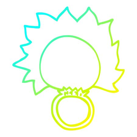 cold gradient line drawing of a cartoon fire ball ring Illustration