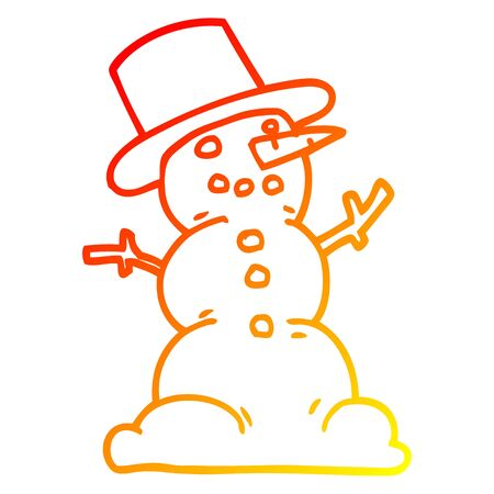 warm gradient line drawing of a cartoon traditional snowman