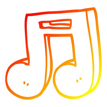 warm gradient line drawing of a cartoon musical notes