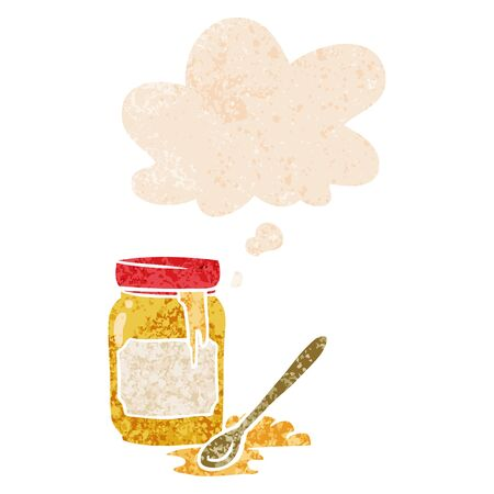 cartoon jar of honey with thought bubble in grunge distressed retro textured style  イラスト・ベクター素材