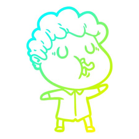 cold gradient line drawing of a cartoon man pulling face
