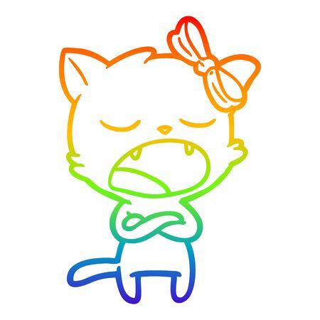 rainbow gradient line drawing of a annoyed cartoon cat