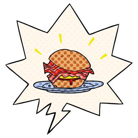 cartoon amazingly tasty bacon breakfast sandwich with cheese with speech bubble in comic book style Ilustrace