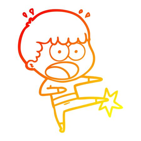 warm gradient line drawing of a cartoon boy karate kicking