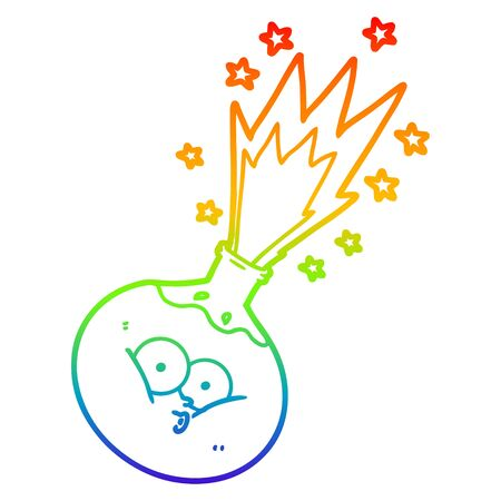 rainbow gradient line drawing of a cartoon potion exploding Illusztráció