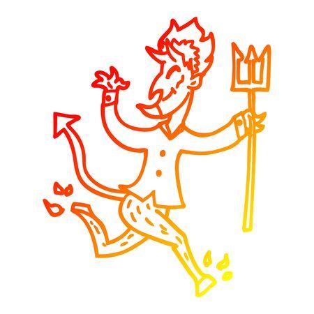 warme Farbverlaufslinie eines Cartoon-Teufels mit Heugabel Vektorgrafik