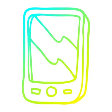 cold gradient line drawing of a cartoon mobile phone