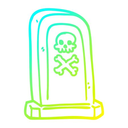 cold gradient line drawing of a cartoon grave stone
