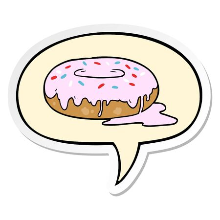 cartoon donut with speech bubble sticker