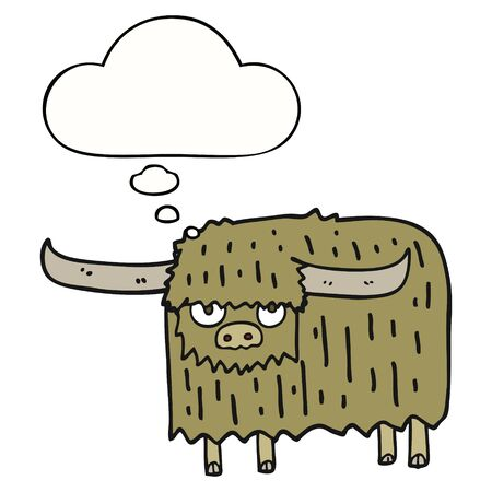 cartoon hairy cow with thought bubble