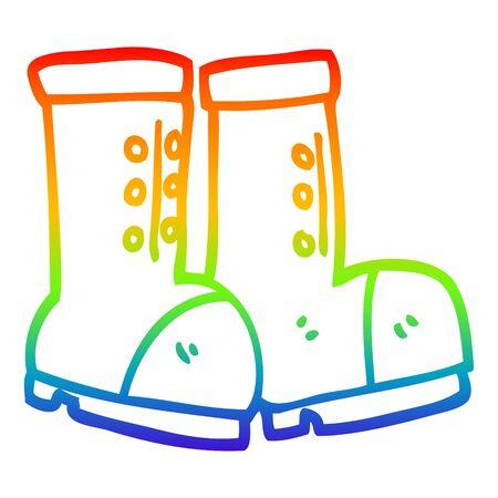 rainbow gradient line drawing of a cartoon work boots Stock Illustratie
