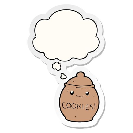 cartoon cookie jar with thought bubble as a printed sticker Ilustrace