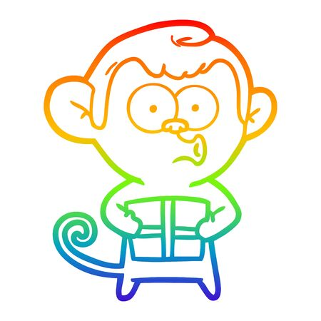 rainbow gradient line drawing of a cartoon christmas monkey